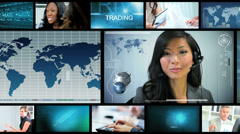Video montage working business managers screen technology Stock Footage