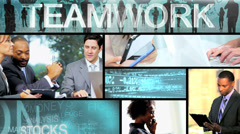 Video montage of business experts using online touch screen - stock footage