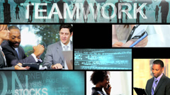 CG business video montage experts working touch screen - stock footage