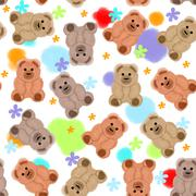 Seamless pattern with teddy bears and flowers Stock Illustration