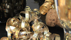 Close up of cork, champagne, ribbons on New Years Stock Footage