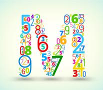Letter M, colored  font from numbers Stock Illustration