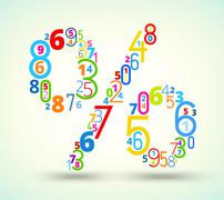 Percent sign , colored  font from numbers - stock illustration