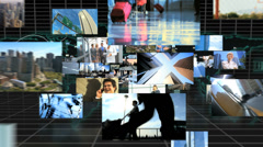 3D video montage Multi ethnic business managers technology - stock footage