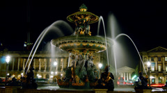 Fontaine de la Concorde at night,time lapse, Stock Footage