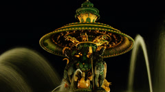 Fontaine de la Concorde at night,time lapse,zoom Stock Footage