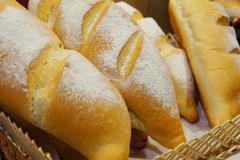 Bread bun in basket Stock Photos