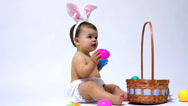 Stock Video Footage of Easter baby against white background
