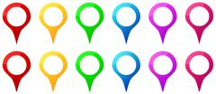 Colored Map Pins Icons For Gps Map Location Stock Illustration