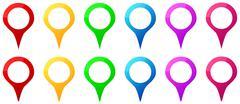 Värilliset Kartta Pins kuvakkeet GPS Kartta Sijainti Piirros