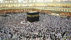 Muslim pilgrims circumambulate the Kaaba in Makkah, Saudi Arabia. - stock footage