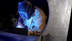 Industrial worker welding Stock Footage