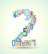 Number 2, colored font from numbers Stock Illustration