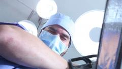 Crazy surgeon with chainsaw Stock Footage
