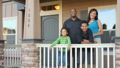 Happy African American family buy a house Stock Footage
