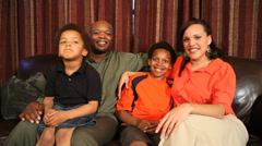 Portrait of happy African American family at home Stock Footage