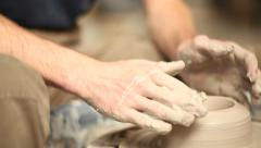 Man doing pottery Stock Footage