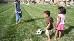 Portrait of three young African American siblings playing - stock footage