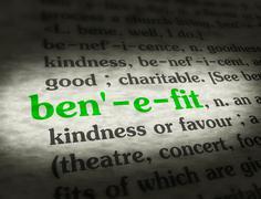 Dictionary - Benefit - Green On BG - stock photo