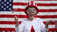 Stock Video Footage of Elderly woman celebrates 4th of July