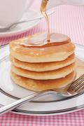 pancakes and maple syrup - stock photo
