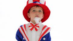 Boy dressed like Uncle Sam Stock Footage