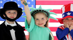 Children dressed up like patriotic characters - stock footage