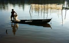 fisherman cast a net on river - stock photo