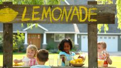 Children with lemonade stand Stock Footage