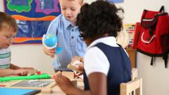 Children playing at preschool - stock footage