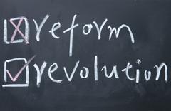 reform or revolution choice - stock photo