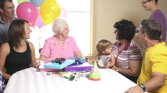 Senior woman at her birthday Stock Footage