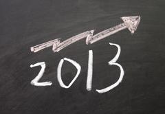 Stock Photo of optimistic about 2013 sign