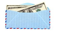 us dollars in airmail envelope isolated on white background. - stock photo