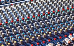 old dj sound mixer. equipment for concerts. - stock photo