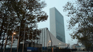 Stock Video Footage of United Nation building early in the morning
