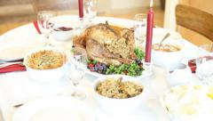 Thanksgiving dinner laid out on table Stock Footage