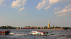 Neva river in the historical center of Saint-Petersburg, Russia Stock Footage
