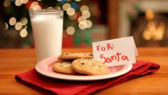 Milk and cookies for Santa Claus - stock footage