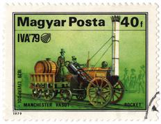 Hungary - circa 1979:a postage stamp printed in hungary, shows retro locomoti Stock Photos
