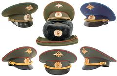 The russian army hats Stock Photos