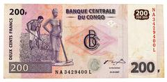 Congo - circa 2007. banknote 200 francs issued by central bank of congo in 20 Stock Photos