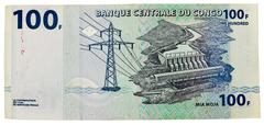congo - circa 2007. banknote 100 francs issued by central bank of congo in 20 - stock photo