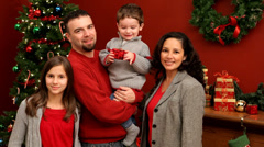 Family Christmas portrait - stock footage