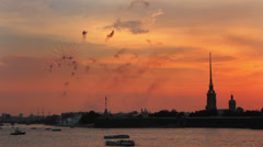 Firework at Sunset over Peter and Paul fortress in Saint-Petersburg Russia Stock Footage