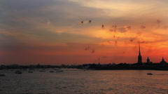 Firework at Sunset over Peter and Paul fortress in Saint-Petersburg Russia - Stock Footage