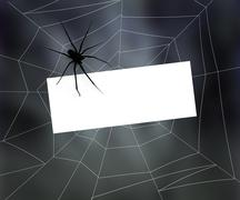Stock Illustration of blank sign in spider web