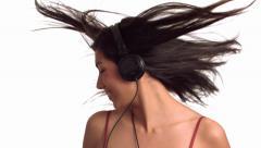 Nainen kuulokkeet tanssi Arkistovideo