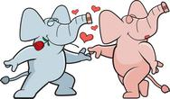 Stock Illustration of Elephant Romance