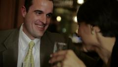 Couple having dinner in restaurant Stock Footage